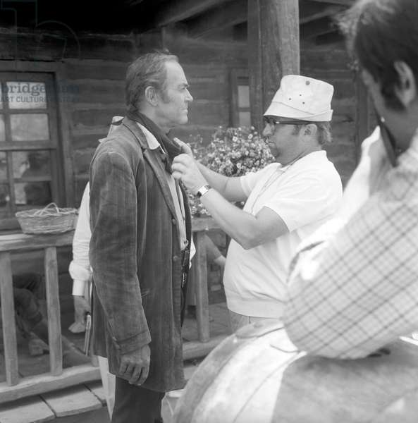 Henry Fonda and Sergio Leone on the movie set of Once Upon a Time in the West (b/w photo)