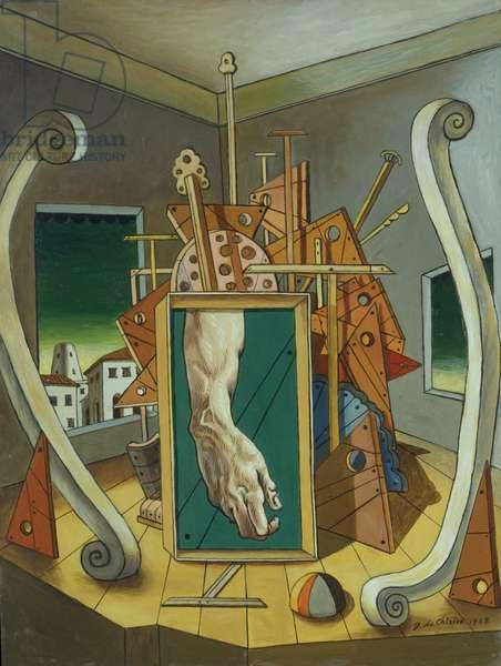 Metaphysical Interior with David's hand, (Interno metafisico con mano di David), by Giorgio De Chirico, 1968, 20th Century, oil on canvas, 79,5 x 59,5 cm