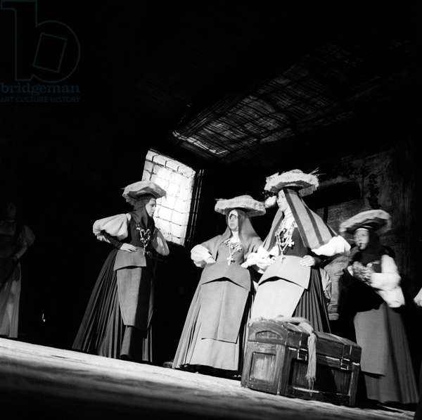 Actresses wearing traditional dresses in a theatre performance, 1957 (b/w photo)