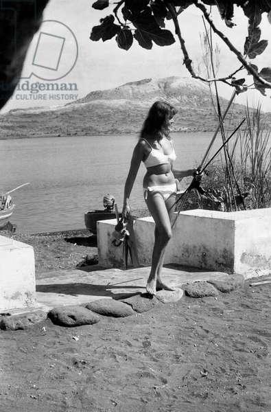 German tourist wearing a bikini in Vulcano Island