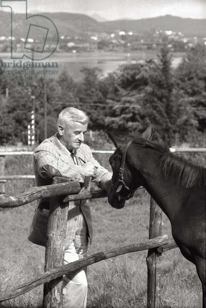 William Faulkner with horse