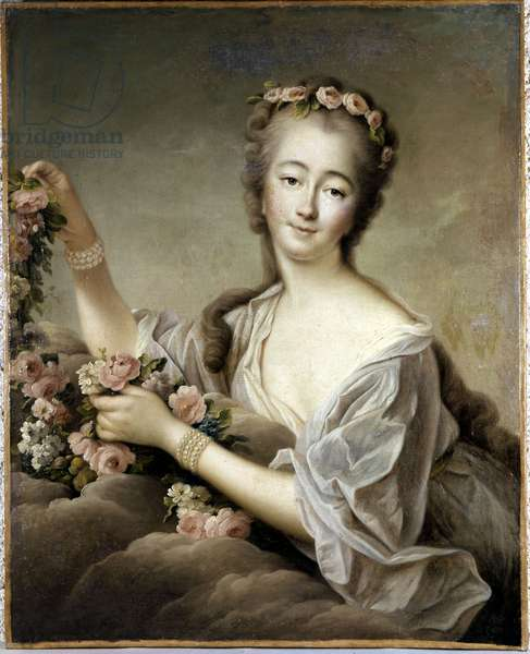 Madame Du Barry as Flora (Madame Du Barry comme Flora), by Francois-Hubert Drouais, 18th Century