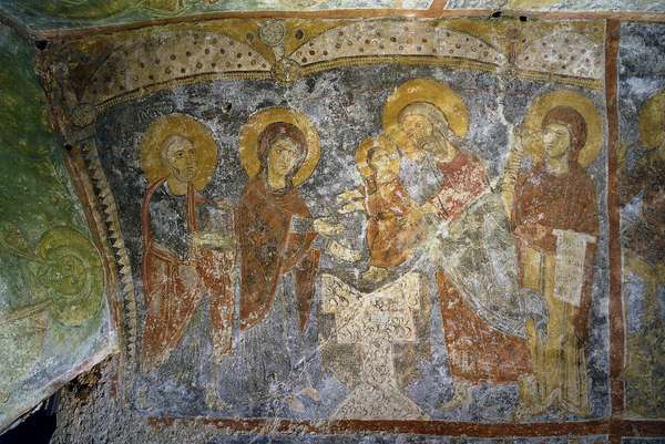 Presentation of Baby Jesus at the Temple, by Unknown Artist, 12th Century, ca. fresco
