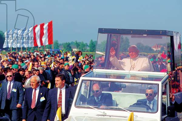 Pope John Paul II greeting the crowd, Poland