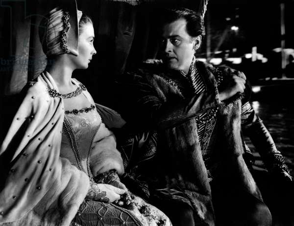 Stewart Granger and Jean Simmons in a scene from the movie Young Bess, 1953 (b/w photo)