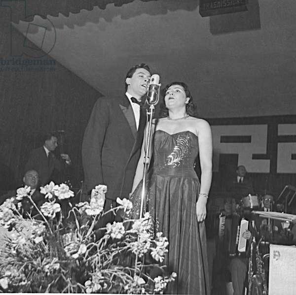 Achille Togliani and Nilla Pizzi at the 2nd Sanremo Music Festival, Italy, 1952 (b/w photo)