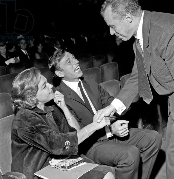 Yves Montand and Simone Signoret at Olympia Music Hall, Paris, France, 1962 (b/w photo)