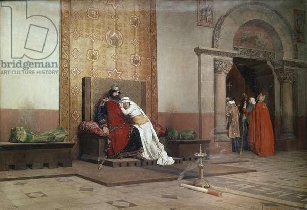 The Excommunication of Robert the Pious (L'excommunication de Robert le Pieux), by Jean-Paul Laurens, 1875, 19th Century (oil on canvas), 130 x 218 cm