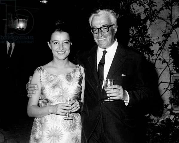 Vittorio De Sica with his daughter Emilia, 1965 (b/w photo)