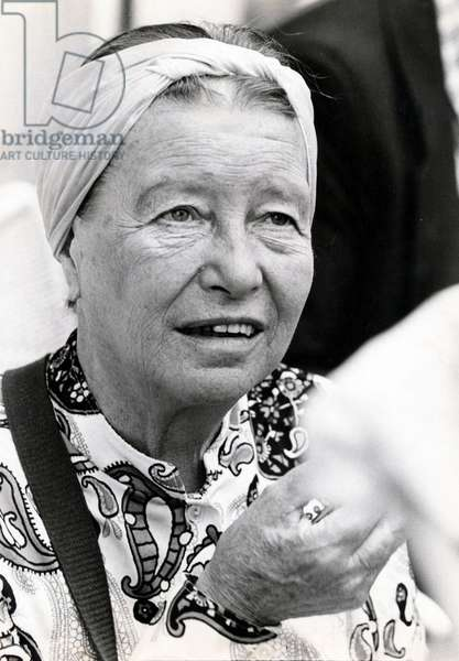 Portrait of Simone de Beauvoir, 1970 (b/w photo)