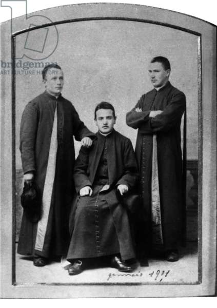 Angelo Roncalli with two seminary-mates