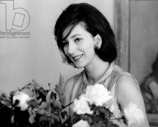 Valentina Cortese at home, 1963 (b/w photo)