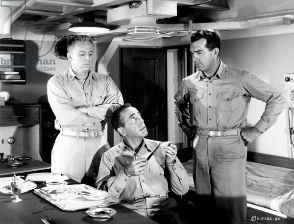 Humphrey Bogart, Van Johnson and Fred MacMurray in a scene from the film 'The Caine Mutiny', 1954 (b/w photo)