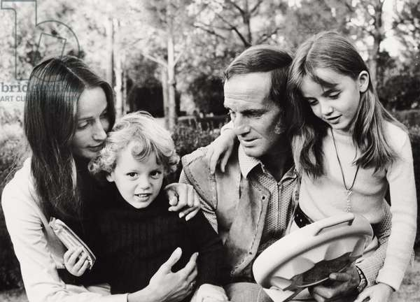 Philippe Leroy-Beaulieu with wife and children, 1970 (b/w photo)
