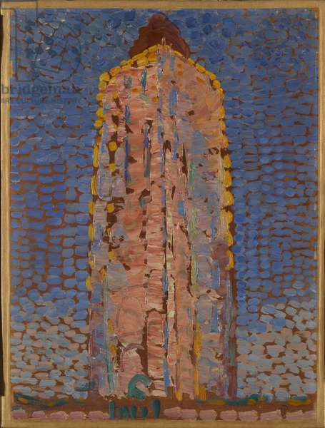 Westkapelle Lighthouse, by Piet Mondrian, 1909 - 1910, 20th Century, oil on paper applied on canvas, 39 ? 29 cm