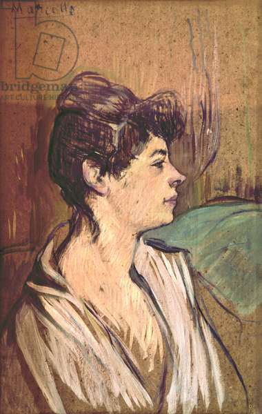Portrait of Marcelle, by Henri de Toulouse-Lautrec, 1893 - 1894, 19th Century, oil on cardboard, 46,5 x 29,5 cm