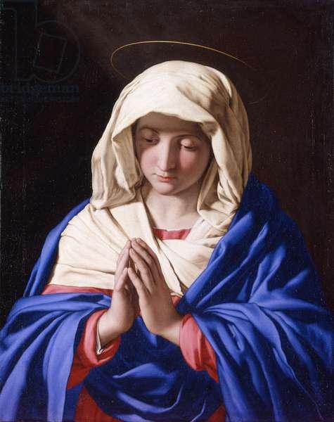 Virgin praying with eyes lowered, by Giovan Battista Salvi known as Sassoferrato, 1647-1652, 17th century, oil on canvas.