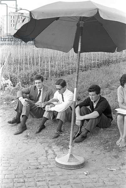 The director Pier Paolo Pasolini and the assistant director Bernardo Bertolucci (b/w photo)