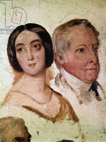 Portrait of George Sand and her husband, François Casimir Dudevant (Portrait de George Sand et de son époux, le baron François Casimir Dudevant), by François-Auguste Biard, c. 1823, 19th Century (oil on canvas), 27 x 22 cm