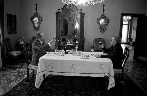 Luigi Lucchini toasting with his wife Emilia Rota