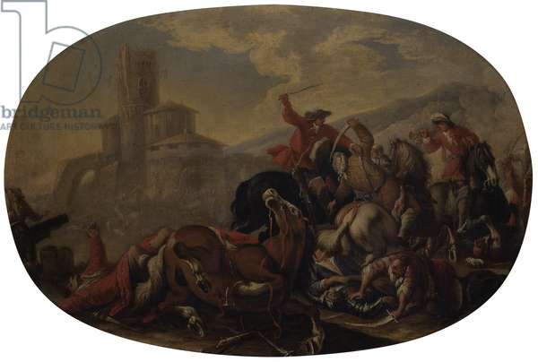 Battle Between Christian Knights and Turks Horsemen, by Unknown Artist from Nothern Italy, begin of the 18th Century, oil on canvas