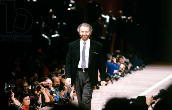 Gianni Versace on the catwalk