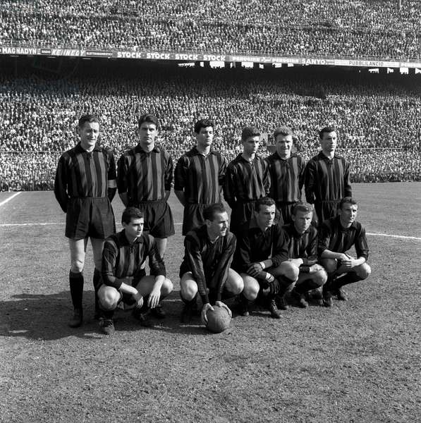 Milan team lined up on the football playground ,  Milan, Italy
