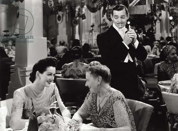 Clark Gable, Rosalind Russell and Jessie Ralph in 'They met in Bombay', 1941 (b/w photo)