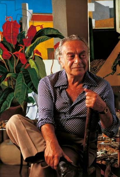 Renato Guttuso in his studio, Rome, Italy, 1983