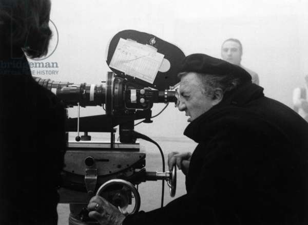 Federico Fellini on the set, 1973 (b/w photo)