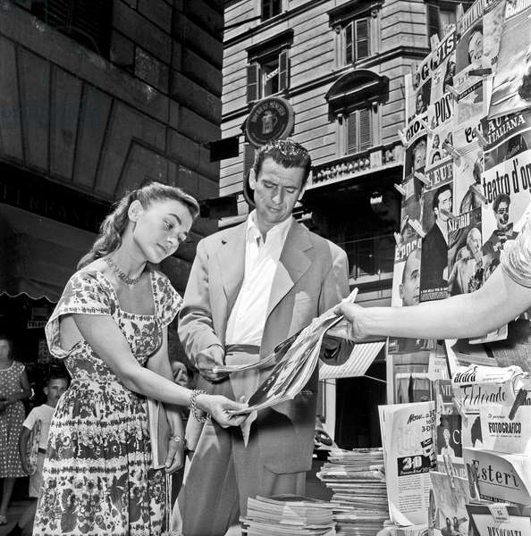 Yves Montand and Danièle Delorme in Rome, Rome, Italy, 1950 (b/w photo)