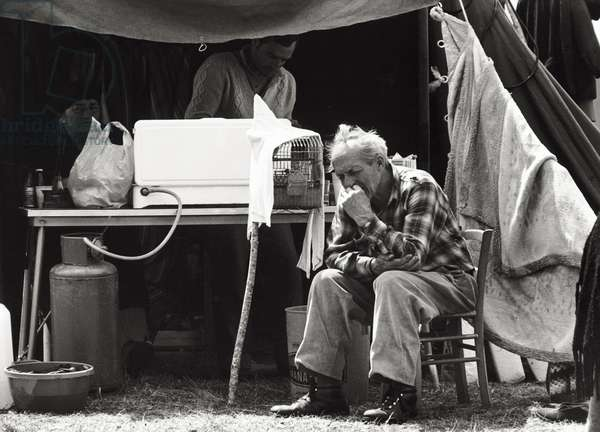 People left homeless by the earthquake in the tent city, 1976 (b/w photo)