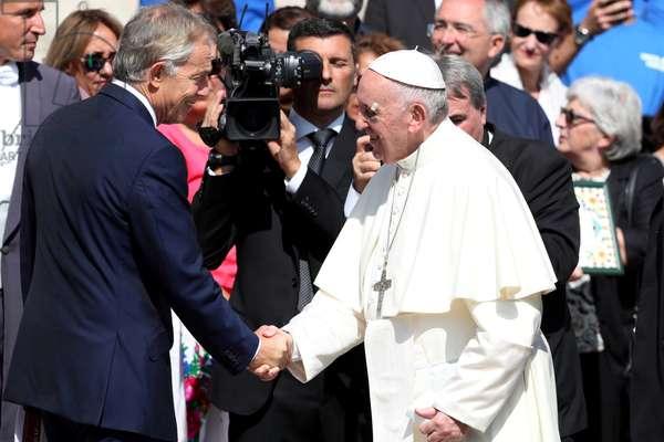 Pope Francis and Tony Blair, Rome, Holy See, 2017 (photo)