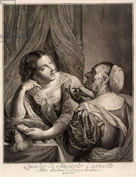 Old woman and young woman conversating, 17th century (engraving)