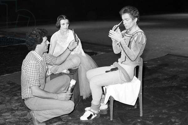 Carla Fracci and Rudolf Nureyev rehearsing a ballet, Italy, 1981 (b/w photo)