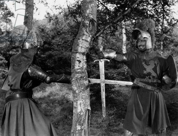 Robert Taylor and Mel Ferrer in 'Knights of the Round Table', 1953 (b/w photo)
