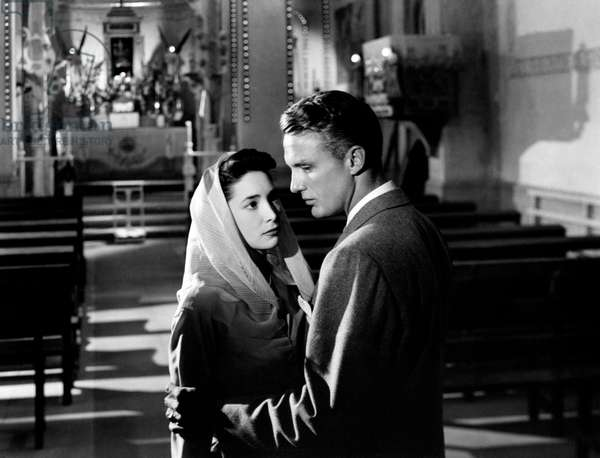 Robert Stack and Joy Page in a church