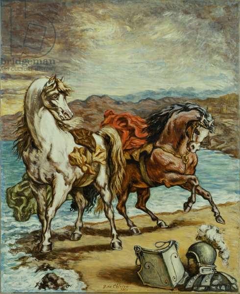 Two Horses in Seaside (Due cavalli in riva al mare), by Giorgio De Chirico, 1964, 20th Century, oil on canvas