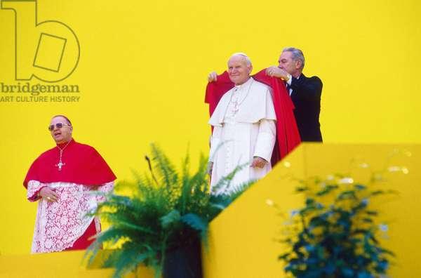 Pope John Paul II and Michele Giordano, Naples, Italy