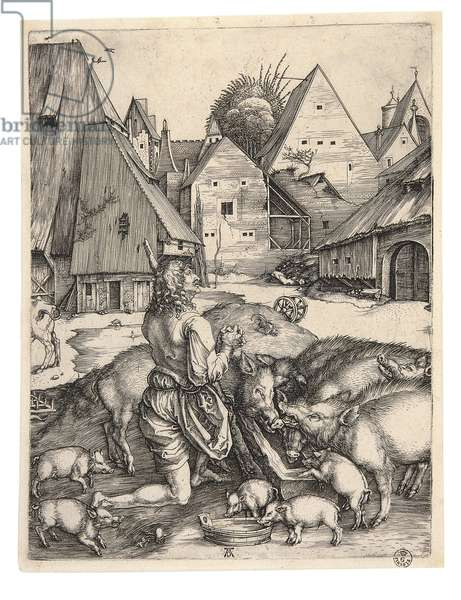 The Prodigal Son, by Albrecht Durer, 1496, 15th Century (burin engraving)