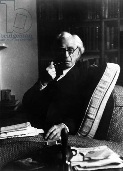 Bertrand Russell smoking a pipe