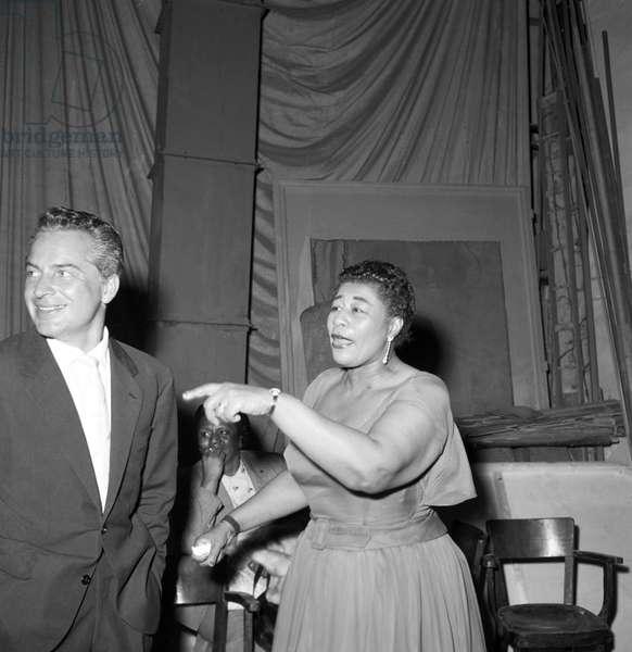 Rossano Brazzi meeting Ella Fitzgerald, Italy, 1957 (b/w photo)