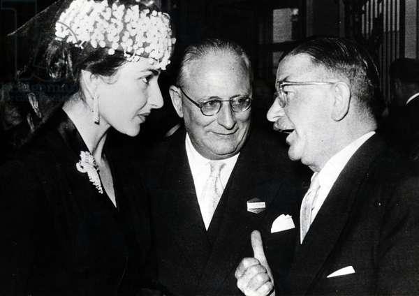 Maria Callas and Leopold Figl, Italy, 1956 (b/w photo)