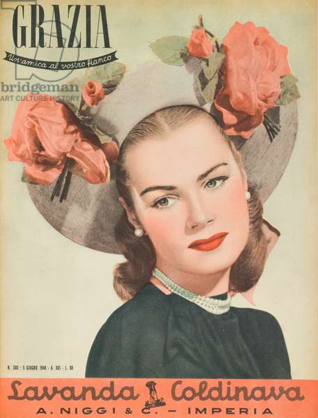 Cover of the women's magazine Grazia, A model wearing a veru decorated natural panama hat, On the upset brim, larger on the sides, two taffeta roses, June 1948 (b/w photo)