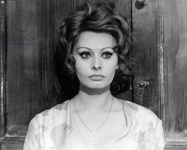 Sophia Loren in a scene from the movie 'Marriage Italian style', 1964 (b/w photo)