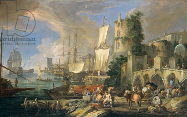 Harbor's View with Bridge and Tower, 1713 (oil on canvas)