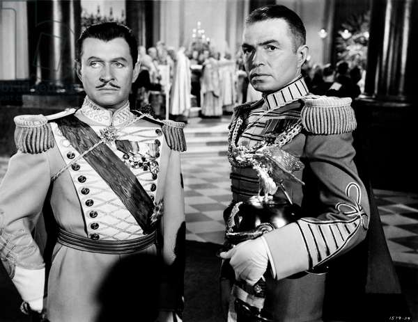 James Mason and Stewart Granger in regal uniform in a scene from the movie 'The Prisoner of Zenda', 1952 (b/w photo)
