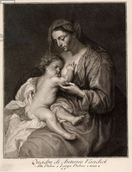 Virgin Mary with the Child, 17th century (engraving)