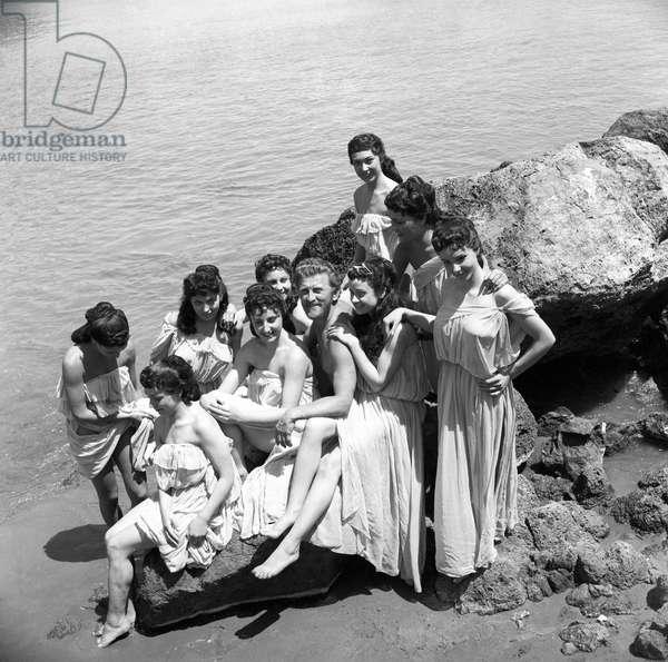 Kirk Douglas on the film set of Ulysses, Italy, 1953 (b/w photo)