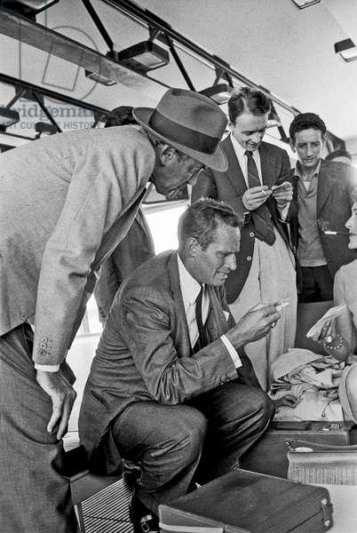 Charlton Heston and James Stewart at Fiumicino Airport, Fiumicino, Italy, 1961 (b/w photo)